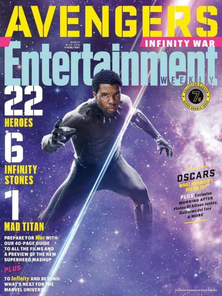 PHOTO:Black Panther from the film, The Avengers Infinity, on the cover of Entertainment Weekly.