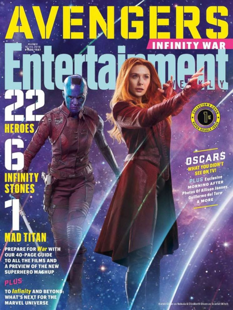 PHOTO: Nebula and The Scarlet Witch from the film, The Avengers Infinity, on the cover of Entertainment Weekly.