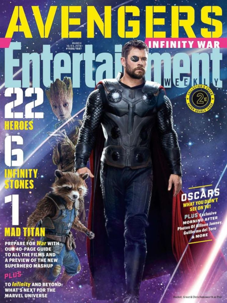 PHOTO: Rocket, Groot and Thor from the film, The Avengers Infinity, on the cover of Entertainment Weekly.