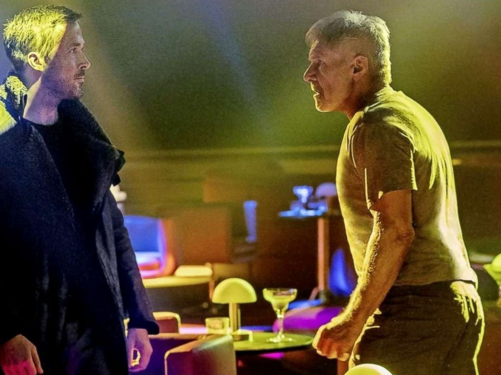PHOTO: Ryan Gosling and Harrison Ford in a scene from Blade Runner 2049.