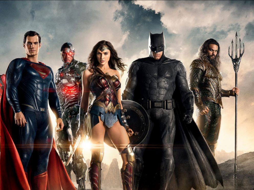 PHOTO: Ezra Miller, Henry Cavill, Ray Fisher, Gal Gadot, Ben Affleck and Jason Momoa in a scene from Justice League.