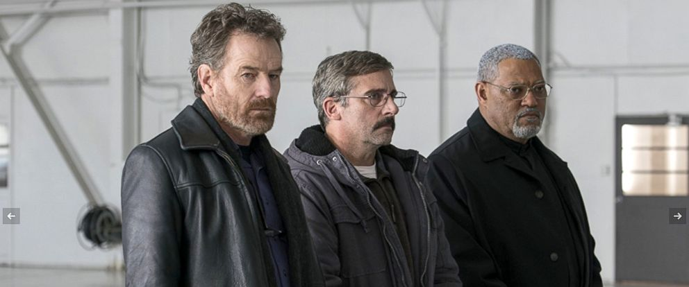 """PHOTO: Bryan Cranston, Steve Carell and Laurence Fishburne in a scene from """"Last Flag Flying."""""""