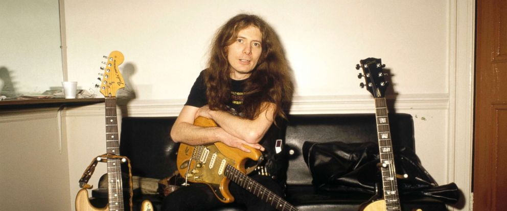 PHOTO: Motorhead guitarist, Fast Eddie Clarke poses for a portrait backstage, circa 1980.