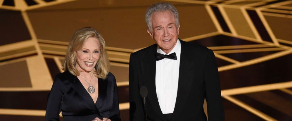 PHOTO: Faye Dunaway, left, and Warren Beatty present the award for best picture at the Oscars, March 4, 2018, at the Dolby Theatre in Los Angeles.