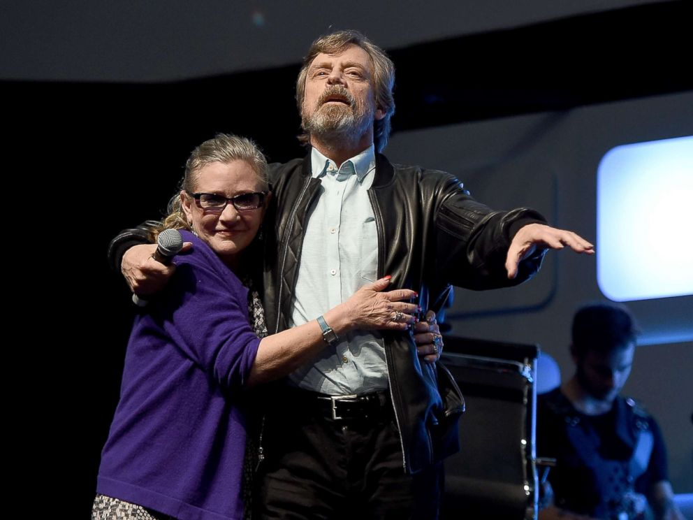 PHOTO: Carrie Fisher and Mark Hamill at a Future Directors Panel at the Star Wars Celebration 2016, July 17, 2016, in London.