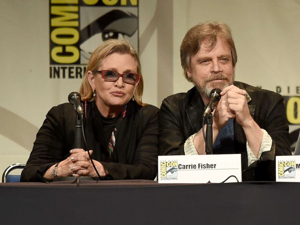 PHOTO: Carrie Fisher and Mark Hamill speak onstage at the Lucasfilm panel during Comic-Con International 2015 at the San Diego Convention Center, July 10, 2015, in San Diego, Calif.