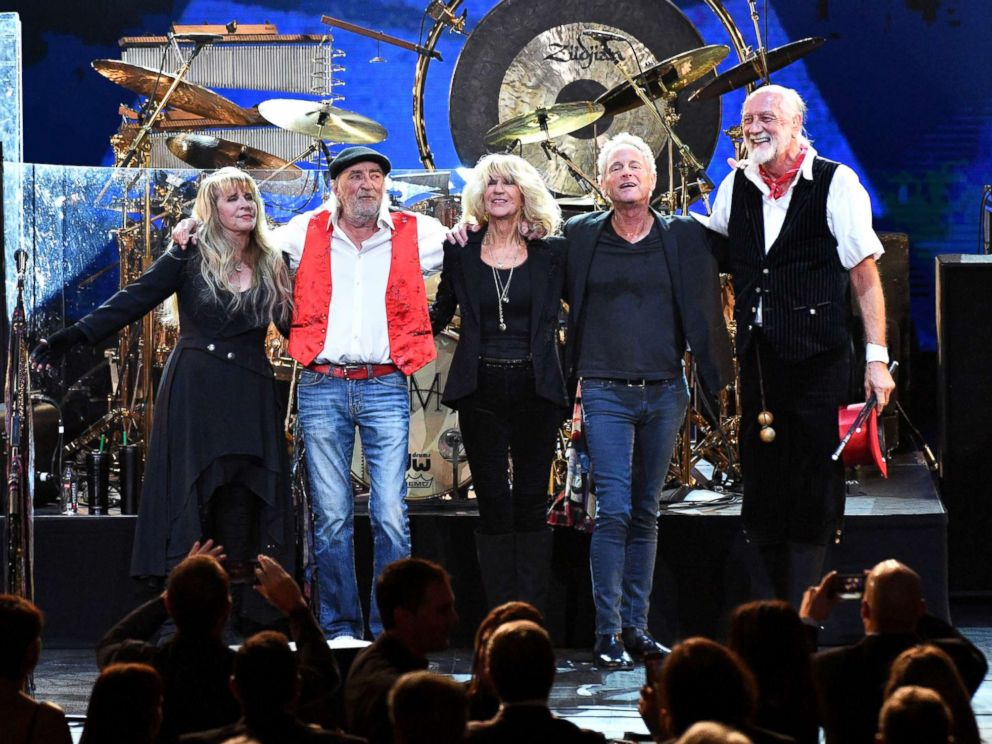 PHOTO: Stevie Nicks, John McVie, Christine McVie, Lindsey Buckingham and Mick Fleetwood are seen onstage during an event to honor Fleetwood Mac at Radio City Music Hall on Jan. 26, 2018 in New York.