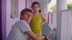 PHOTO: Willem Dafoe and Brooklyn Prince appear in a scene from The Florida Project.