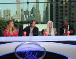 PHOTO: Mariah Carey, Keith Urban, Nicki Minaj and Randy Jackson answer questions from the press on the set of American Idol, Sept. 17, 2012.