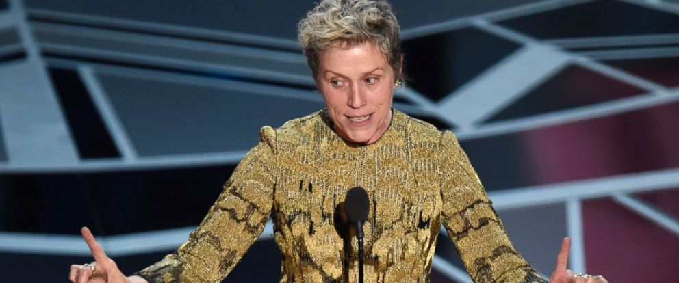 "PHOTO: Frances McDormand accepts the award for best performance by an actress in a leading role for ""Three Billboards Outside Ebbing, Missouri"" at the Oscars, March 4, 2018, at the Dolby Theatre in Los Angeles."