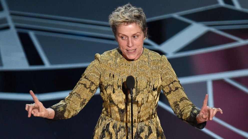 "Frances McDormand accepts the award for best performance by an actress in a leading role for ""Three Billboards Outside Ebbing, Missouri"" at the Oscars, March 4, 2018, at the Dolby Theatre in Los Angeles."