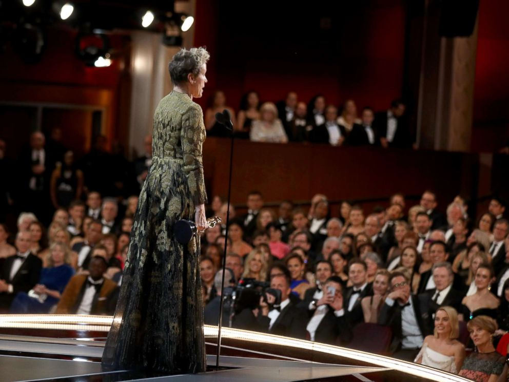 PHOTO: Frances McDormand gives her acceptance speech at the 90th Annual Academy Awards at the Dolby Theatre on March 4, 2018 in Hollywood, Calif.