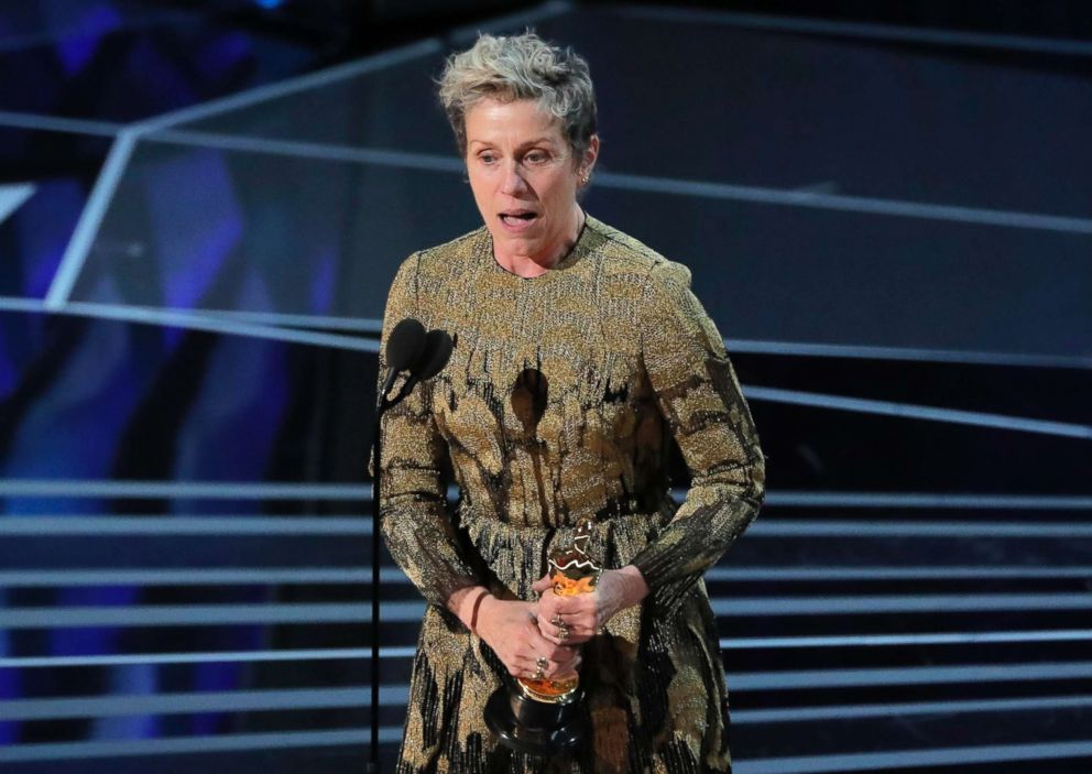 PHOTO: Frances McDormand accepts the Oscar for Best Actress for Three Billboards Outside Ebbing, Missouri, March 4, 2018.