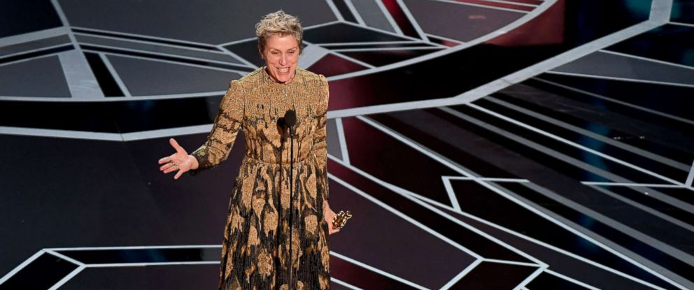 """PHOTO: Actress Frances McDormand delivers a speech after she won the Oscar for Best Actress in """"Three Billboards outside Ebbing, Missouri"""" during the 90th Annual Academy Awards show, March 4, 2018, in Hollywood, Calif."""