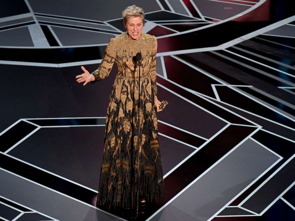 PHOTO: Actress Frances McDormand delivers a speech after she won the Oscar for Best Actress in Three Billboards outside Ebbing, Missouri during the 90th Annual Academy Awards show, March 4, 2018, in Hollywood, Calif.