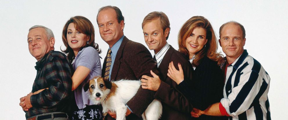 PHOTO: In this file photo shows the cast of Frasier, from left, John Mahoney, Jane Leeves, Moose, Kelsey Grammer, David Hyde Pierce, Peri Gilpin and Dan Butler, July 13, 2006.