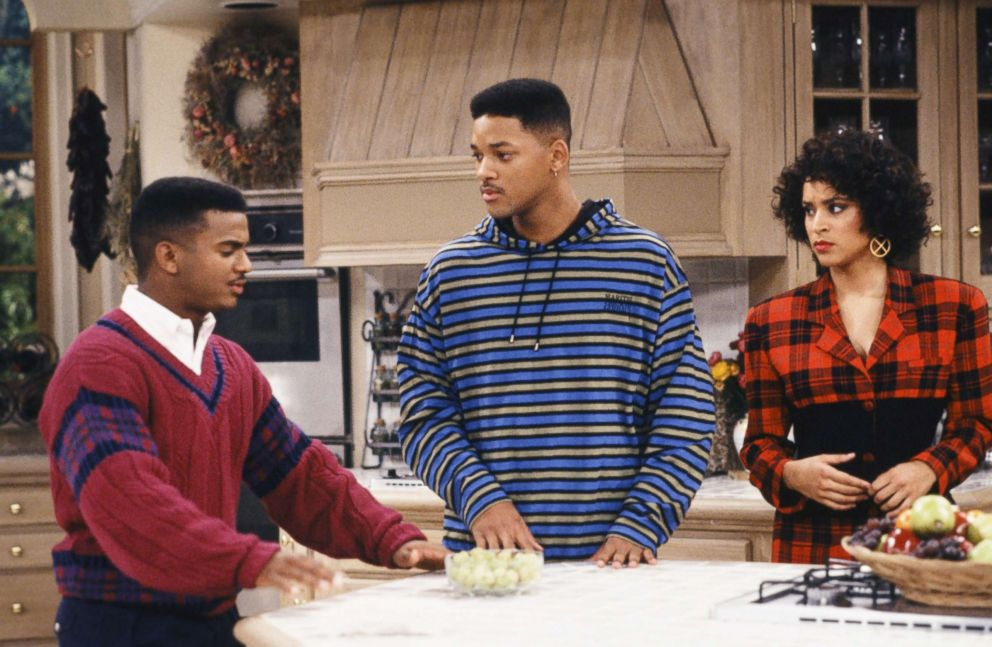 "Alfonso Ribeiro as Carlton Banks, Will Smith as William 'Will' Smith, Karyn Parsons as Hilary Banks on ""The Fresh Prince of Bel-Air,"" in the 1990's."