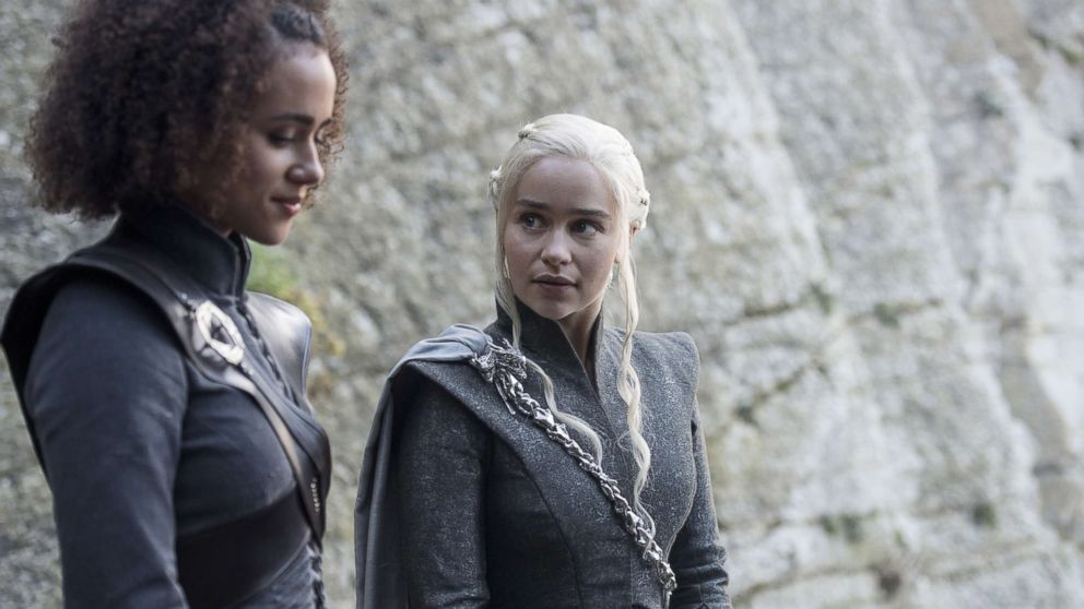 "Nathalie Emmanuel and Emilia Clarke in an episode of ""Game of Thrones,"" Aug. 6, 2017."