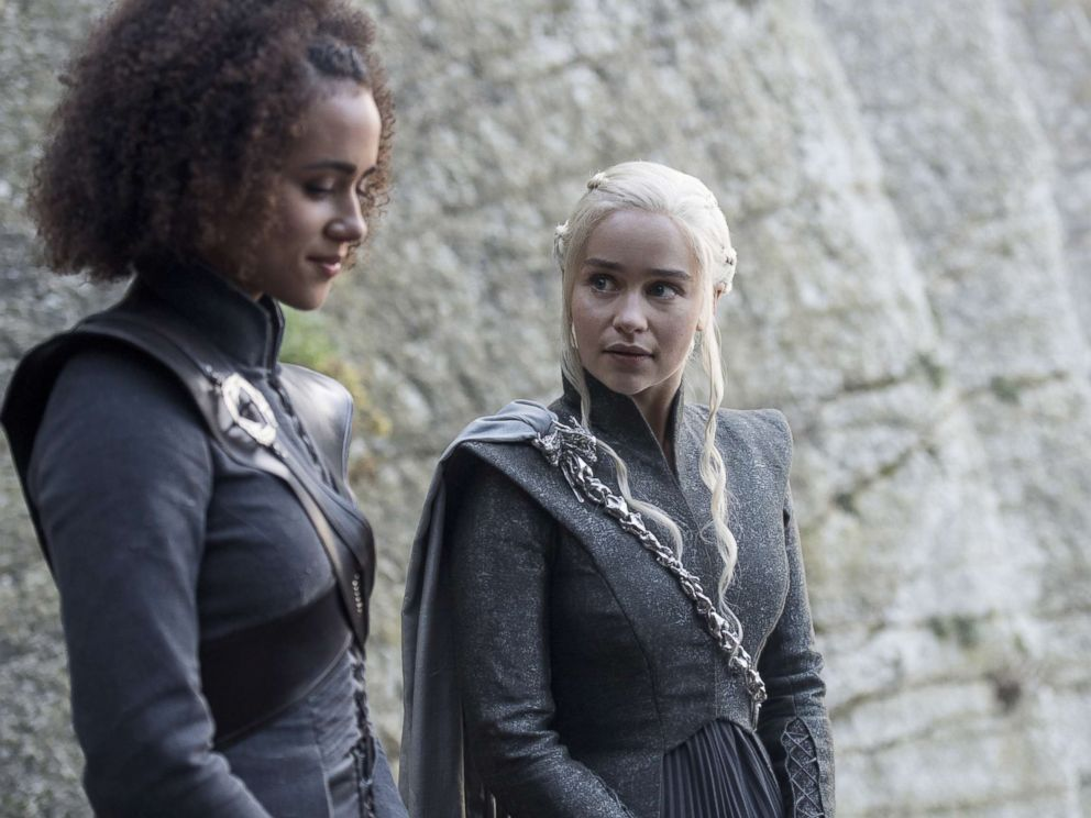 PHOTO: Nathalie Emmanuel and Emilia Clarke in an episode of Game of Thrones, Aug. 6, 2017. <p itemprop=