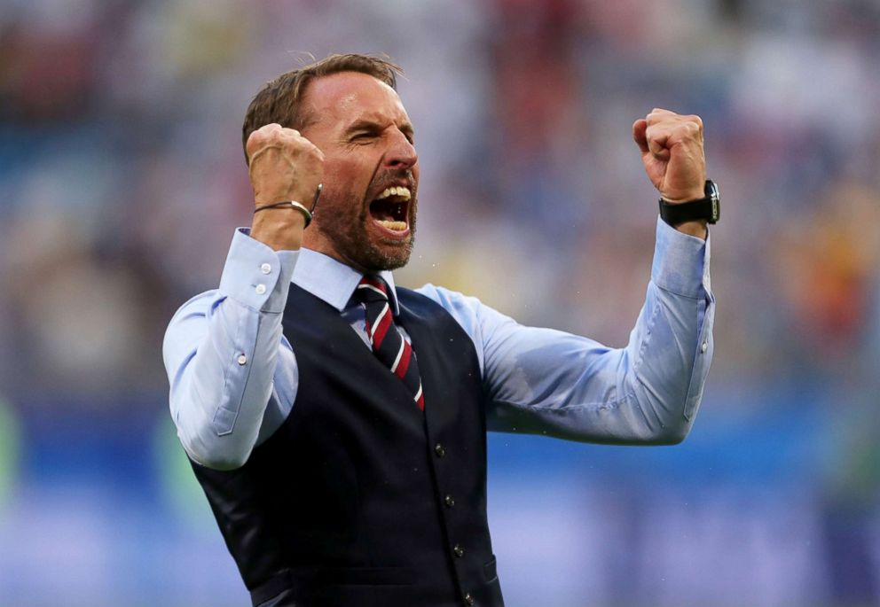 PHOTO: Gareth Southgate, Manager of England, celebrates at the final whistle following victory during the 2018 FIFA World Cup match between Sweden and England, July 7, 2018, in Samara, Russia.