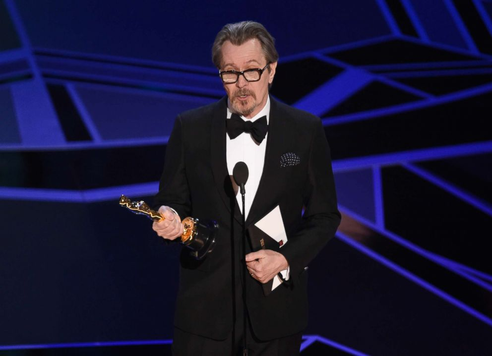 PHOTO: Gary Oldman accepts the award for best performance by an actor in a leading role for Darkest Hour at the Oscars, March 4, 2018, at the Dolby Theatre in Los Angeles.