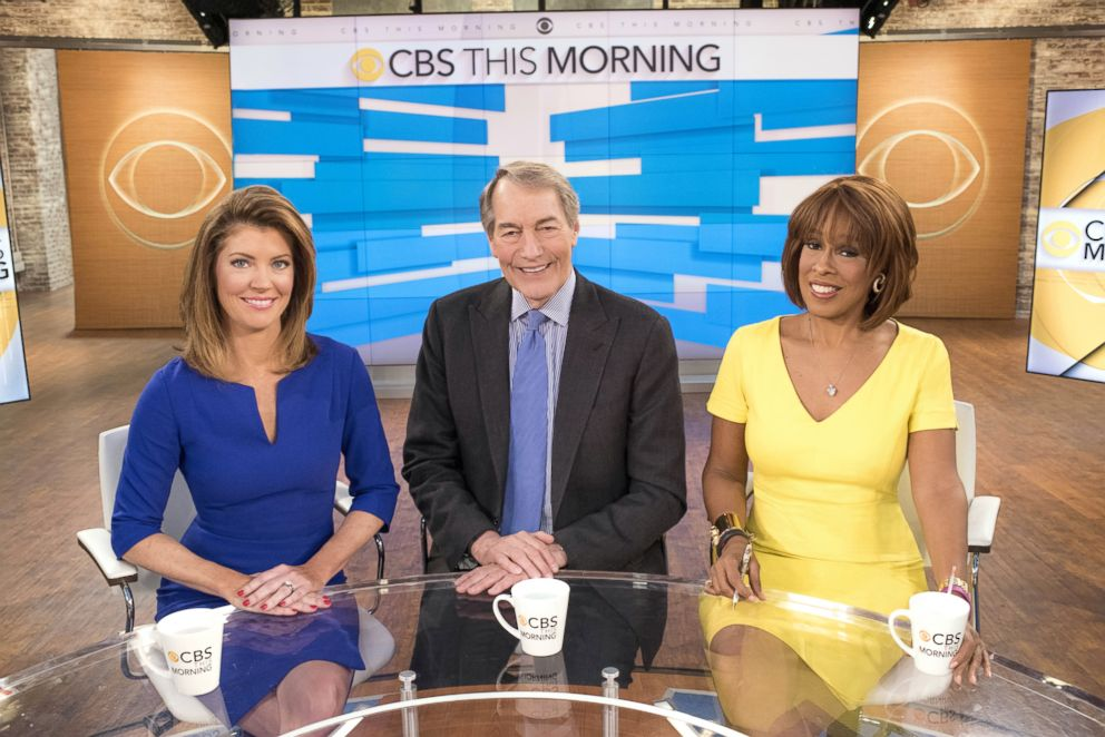 PHOTO: In this file photo, Norah ODonnell, Charlie Rose and Gayle King on CBS This Morning, May 24, 2016, in New York City.
