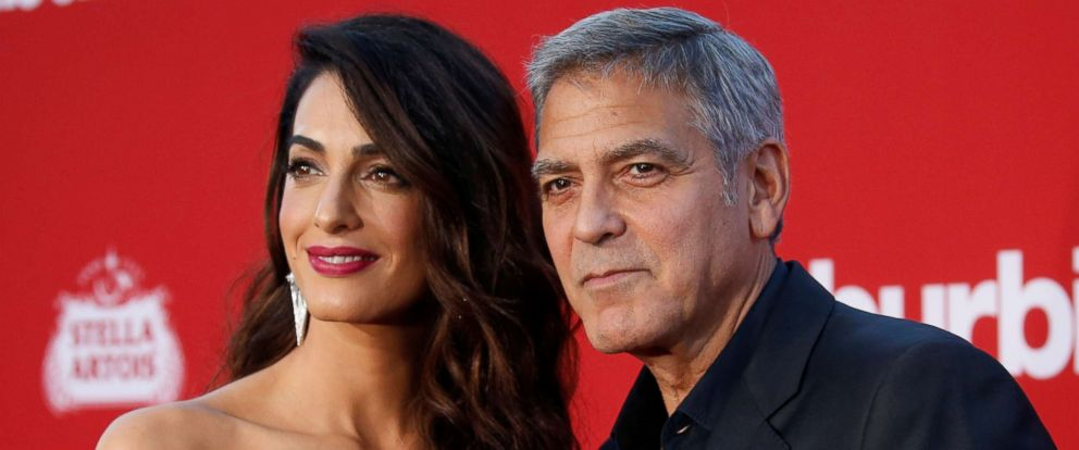 """PHOTO: George Clooney and his wife Amal attend the premiere for """"Suburbicon"""" in Los Angeles, Oct. 22, 2017."""