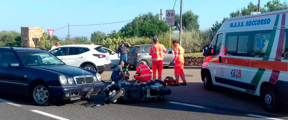 PHOTO: Ambulance personnel tend to George Clooney, after being involved in a scooter accident near Olbia, on the Sardinia island, Italy, July 10, 2018.