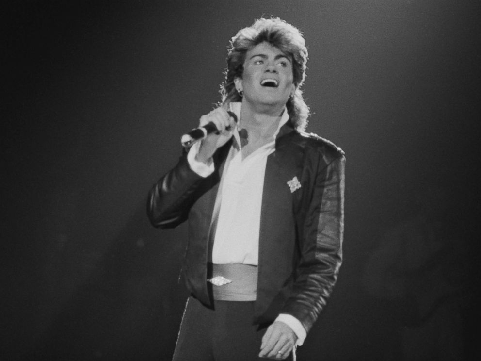 PHOTO: Singer-songwriter George Michael of Wham!, performing on stage during the pop duos 1985 world tour, Jan. 1985.