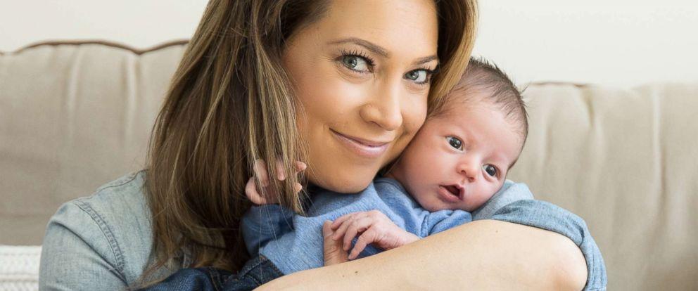 PHOTO: Ginger Zee holds her newborn son, Miles Macklin.
