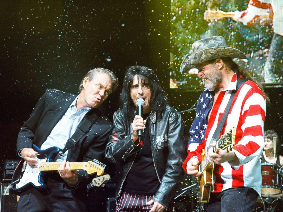 PHOTO: Glen Campbell, Alice Cooper and Ted Nugent perform on stage.