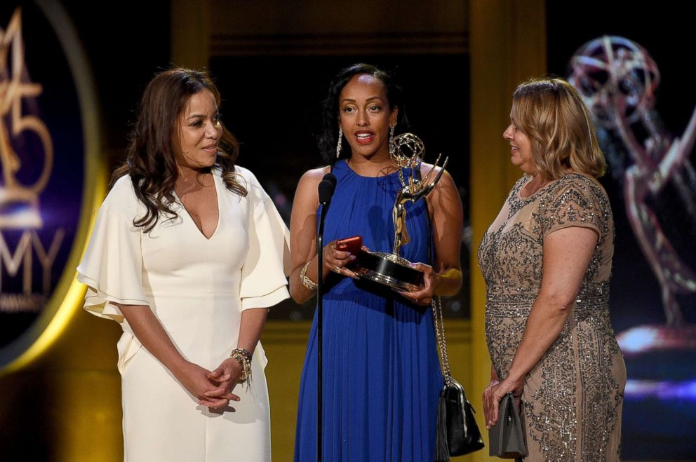 PHOTO: Sabina Ghebremedhin, center, and Lisa Sivertser, right, winners of Outstanding Morning Program for Good Morning America, accept award onstage during the 45th annual Daytime Emmy Awards on April 29, 2018 in Pasadena, Calif.