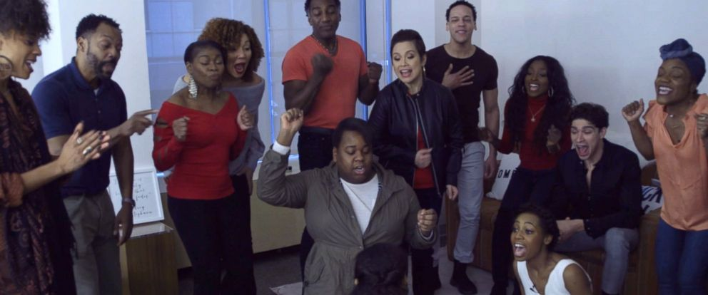"""PHOTO: The cast of Broadways """"Once on This Island"""" joined GMA co-anchor Robin Roberts to discuss the revival of the musical and perform their featured song """"Why We Tell the Story."""""""