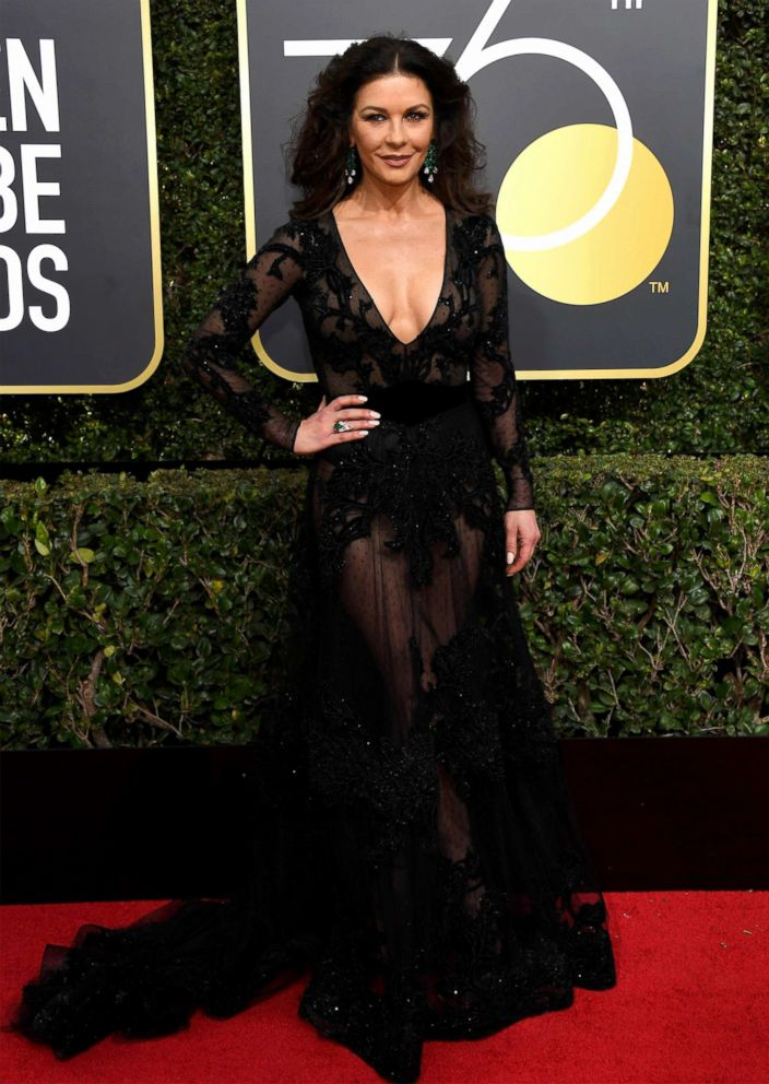 PHOTO: Catherine Zeta-Jones arrives to the 75th Annual Golden Globe Awards held at the Beverly Hilton Hotel, Jan. 7, 2018, in Beverly Hills, Calif.