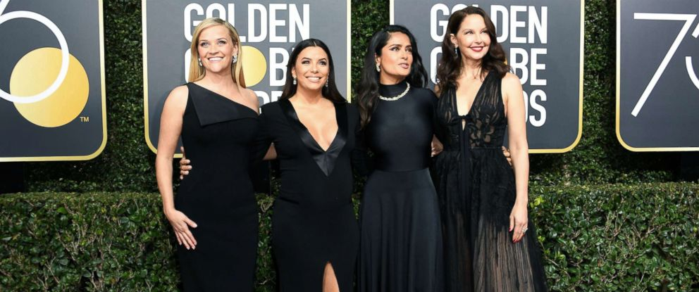 PHOTO: Reese Witherspoon, Eva Longoria, Salma Hayek and Ashley Judd arrive for the 75th Golden Globe Awards, Jan. 7, 2018, in Beverly Hills, Calif.
