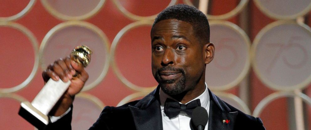 """PHOTO: Sterling K. Brown accepts the Golden Globe for his role in """"This is Us,"""" Jan. 7, 2018, in Beverly Hills, Calif."""