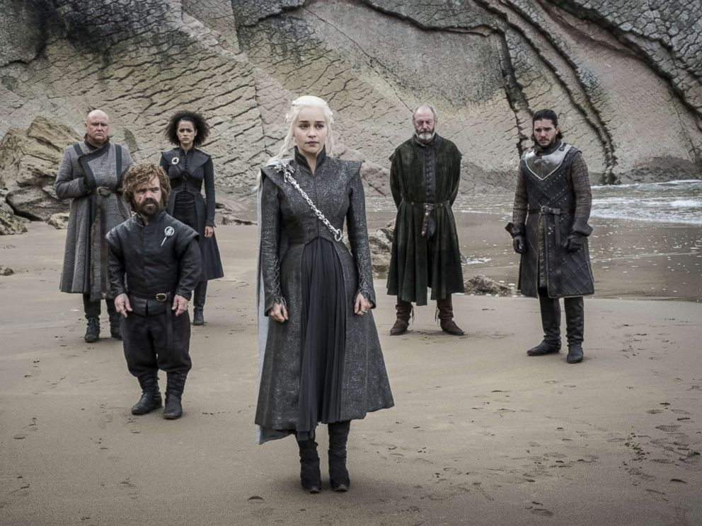 PHOTO: Conleth Hill, Peter Dinklage, Nathalie Emmanuel, Emilia Clarke, Liam Cunningham, Kit Harington on season 7 of Game of Thrones, 2017.