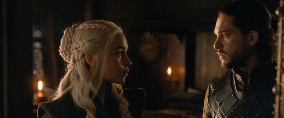 "PHOTO: Emilia Clarke as Daenerys Targaryen and Kit Harrington as Jon Snow on the season 7 finale of ""Game of Thrones."""