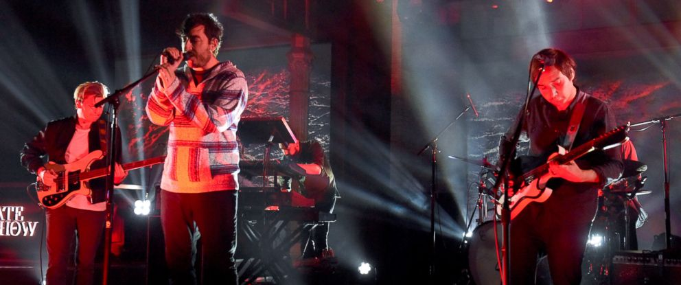"""PHOTO: Grizzly Bear perform on """"The Late SHow with Stephen Colbert,"""" Aug. 17, 2017, in New York City."""