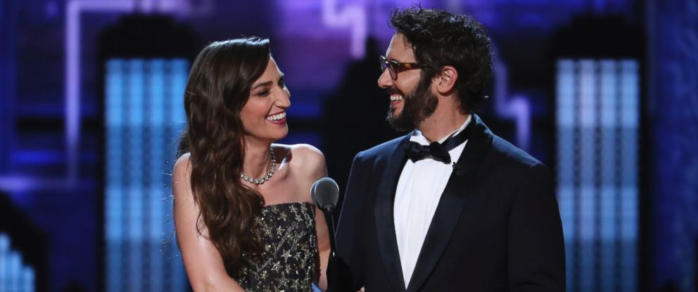 Co-hosts Sara Bareilles, left, and Josh Groban, speak on stage at the 72nd annual Tony Awards at Radio City Music Hall on Sunday, June 10, 2018, in New York.