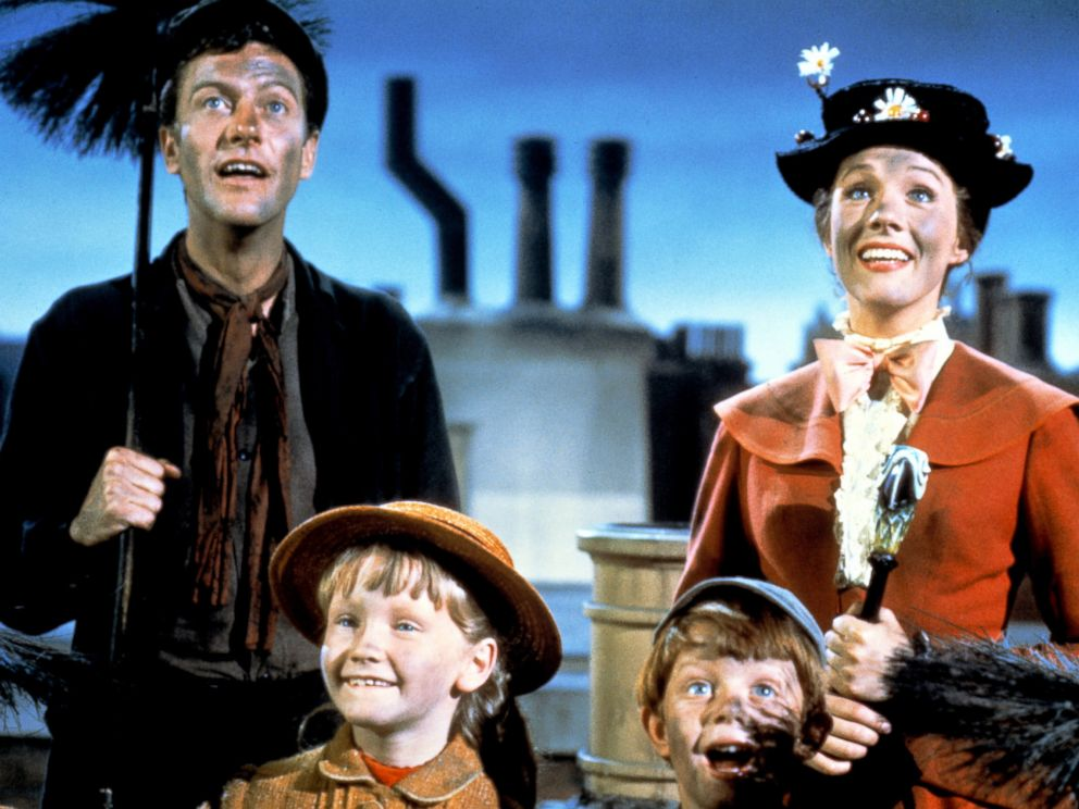 PHOTO: Dick Van Dyke as Bert, Julie Andrews as Mary Poppins, Karen Dotrice as Jane Banks and Matthew Garber as Michael Banks in the Disney musical Mary Poppins, 1964.