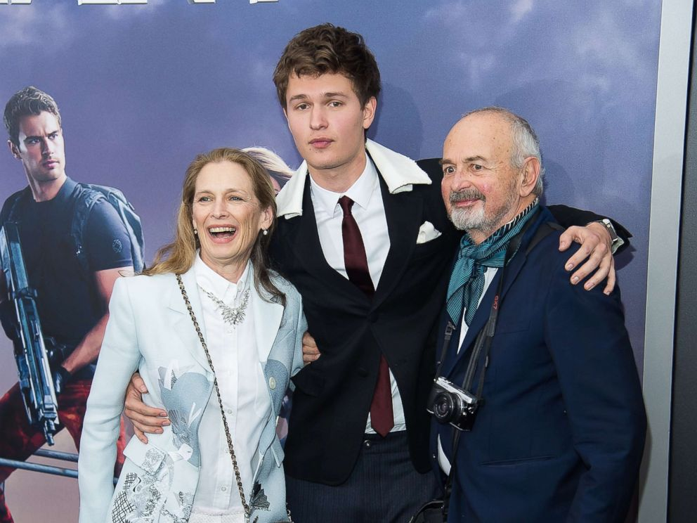 PHOTO: Grethe Barrett Holby, Ansel Elgort and Arthur Elgort attend the Allegiant New York premiere at AMC Lincoln Square Theater, March 14, 2016, in New York.