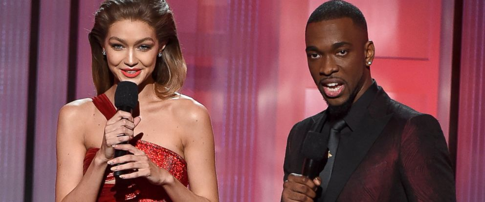 PHOTO: Gigi Hadid and Jay Pharoah onstage during the 2016 American Music Awards at Microsoft Theater in Los Angeles, Nov.20, 2016.