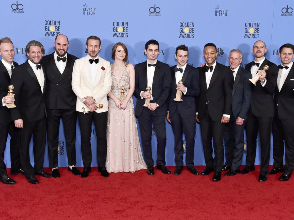 PHOTO: The cast and crew of La La Land, winners of Best Motion Picture - Musical or Comedy, pose in the press room during the 74th Annual Golden Globe Awards at The Beverly Hilton Hotel, Jan. 8, 2017 in Beverly Hills, California.