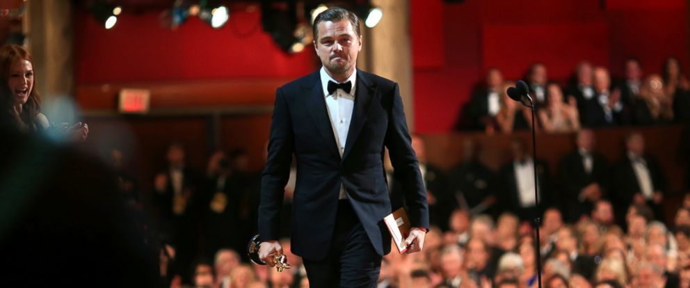 """PHOTO: Leonardo DiCaprio accepts the Best Performance by an Actor in a Leading Role award for """"The Revenant"""" during the 88th Annual Academy Awards on Feb. 28, 2016 in Hollywood, Calif."""