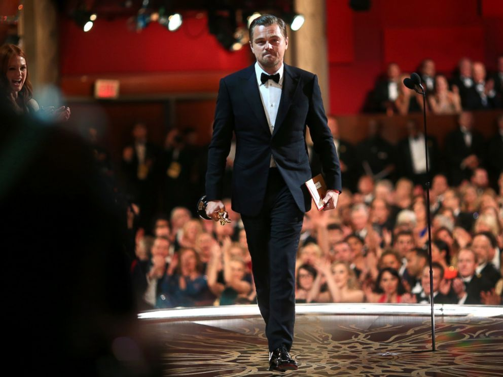 PHOTO: Leonardo DiCaprio accepts the Best Performance by an Actor in a Leading Role award for The Revenant during the 88th Annual Academy Awards on Feb. 28, 2016 in Hollywood, Calif.