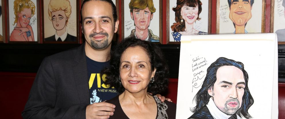 PHOTO: Lin-Manuel Miranda and mother Luz Towns-Miranda attend the Lin-Manuel Miranda Hamilton Sardis Portrait unveiling at Sardis, May 19, 2016 in New York. City.
