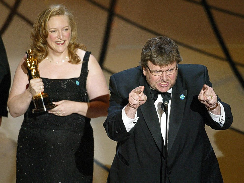 PHOTO: Filmmaker Michael Moore spoke out against President George W. Bush and the war in Iraq while accepting his Oscar for Bowling for Columbine during the 75th Academy Awards in Hollywood, Calif., March 23, 2003.