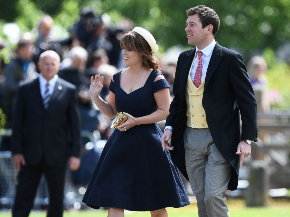 PHOTO: Britains Princess Eugenie arrives for the wedding of Pippa Middleton and James Matthews at St Marks Church in Englefield, west of London, on May 20, 2017.