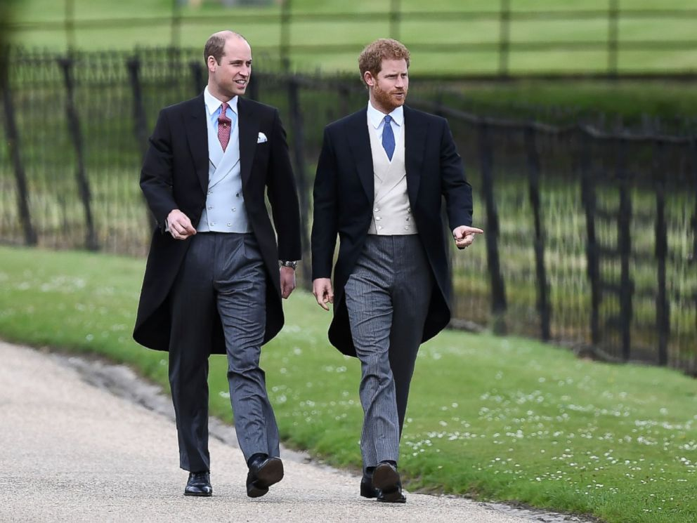 PHOTO: Prince Harry and Prince William, Duke of Cambridge walk to the church for the wedding of Pippa Middleton and James Matthews at St Marks Church in Englefield, west of London, on May 20, 2017.